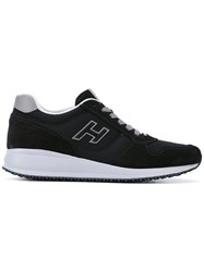 Hogan Chunky Sole Sneakers Men Leather Polyester Rubber 6 Black