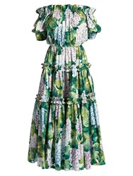 Dolce And Gabbana Hydrangea Print Off The Shoulder Tiered Dress Green Print