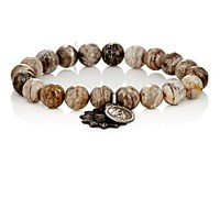 Miracle Icons Men's Silver Leaf Jasper Bead And Charm Bracelet Silver