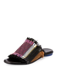 Chloe Frayed Canvas Mule Multi Multi Colors