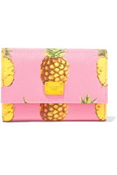 Dolce And Gabbana Printed Textured Leather Wallet Pink