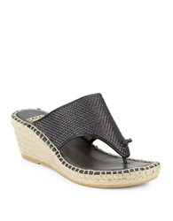 Andre Assous Addie Woven Leather Espadrille Wedge Sandals Black