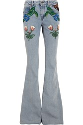 Gucci For Net A Porter Appliqued Mid Rise Flared Jeans Light Denim