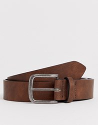 New Look Faux Leather Jeans Belt In Mid Brown