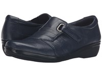 Clarks Everlay Luna Navy Leather Women's Shoes Blue