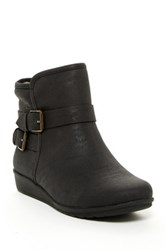 Easy Spirit Janessa Faux Fur Lined Wedge Bootie Black