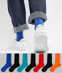 Asos Design Socks In Retro Sport Colours With Branded Soles 7 Pack Save Multi