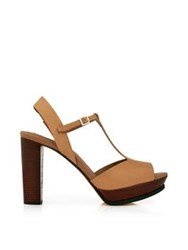 See By Chloe T Bar Platform Heels Tan