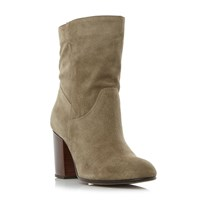 Dune Remmi Slouchy Block Heeled Ankle Boot Beige