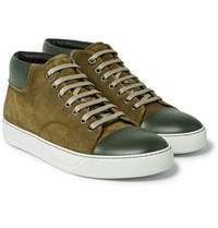 Lanvin Two Tone Suede And Leather Sneakers Army Green