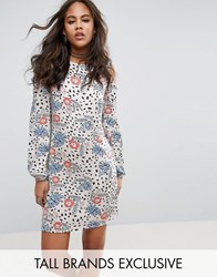 Glamorous Tall Cold Shoulder Mini Dress In Polka Floral Print Multi