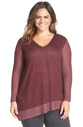 Plus Size Women's Two By Vince Camuto Plaited Asymmetrical V Neck Pullover Mahogany