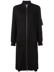 Mcq By Alexander Mcqueen Long Bomber Coat Black
