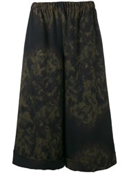 Comme Des Garcons Printed Wide Leg Trousers Women Wool Xs Green