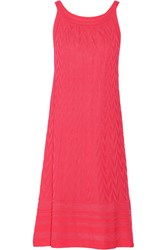 M Missoni Neon Crochet Knit Wool Blend Dress Pink
