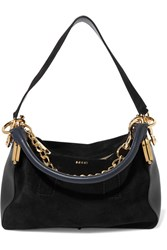 Sacai Coin Purse Suede And Leather Shoulder Bag Black