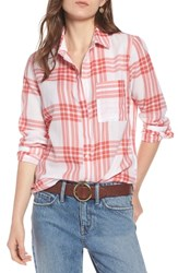 Treasure And Bond Classic Drapey Shirt White Red Mineral Rear Window