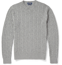 Polo Ralph Lauren Cashmere Cable Knit Sweater Gray