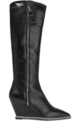 Giuseppe Zanotti Chain Trimmed Leather Wedge Knee Boots