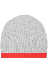 Duffy Two Tone Ribbed Wool And Cashmere Blend Beanie Gray