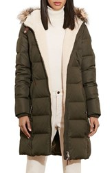 Lauren Ralph Lauren Women's Quilted Parka With Faux Fur Trim Litchfield Loden