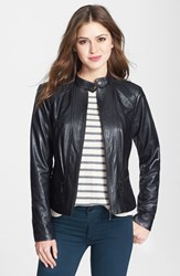 Petite Women's Bernardo Front Zip Leather Scuba Jacket