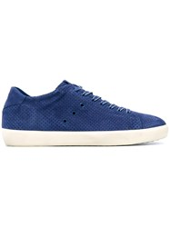 Leather Crown Perforated Lace Up Sneakers Blue