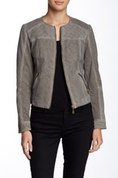 Lavand Faux Leather Jacket Gray