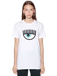 Chiara Ferragni Eye Patch Cotton Jersey T Shirt White