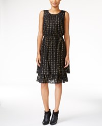 Maison Jules Tiered Metallic Detail Dress Only At Macy's Deep Black