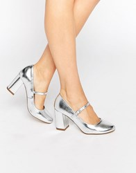 Carvela Kool Mary Jane High Heeled Shoes Silver Synthetic