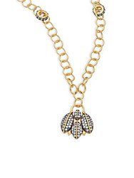 Freida Rothman Geometric Edge Cubic Zirconia And 14K Gold Plated Sterling Silver Winged Charm Pendant Necklace