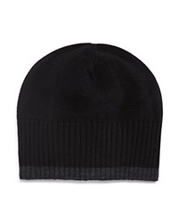 Bloomingdale's The Men's Store At Contrast Edge Beanie Black Grey