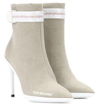 Off White For Walking Canvas Ankle Boots Beige