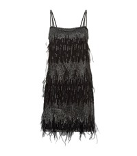 Pinko Feather Sequin Dress Female Black