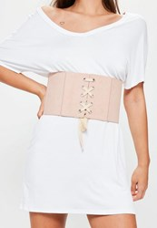 Missguided Pink Faux Suede Elasticated Corset Belt