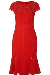 Marchesa Notte Bead Embellished Faux Leather Appliqued Crepe Dress Red