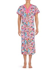 Miss Elaine Floral Zip Front Robe Blue