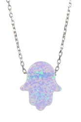 Zsa Zsa Jewels Silver Blue Opal Hamsa Necklace Purple
