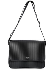 Emporio Armani Ribbed Faux Leather Messenger Bag Black