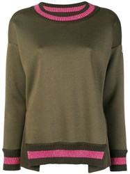 Moncler Lurex Stripe Trim Sweater Green