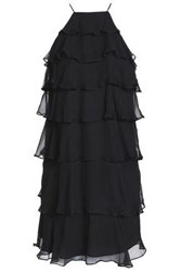 Bailey 44 Tiered Silk Georgette Mini Dress Black