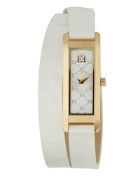Escada Patent Leather Two Hand Florence Wrap Watch White