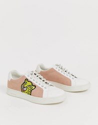 Paul Smith Ps Powder Pink Cheetah Trainer White