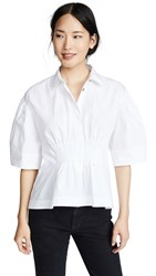 Cedric Charlier Cinched Waist Collared Shirt White
