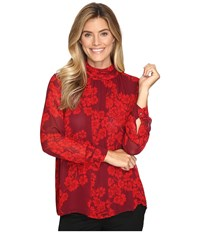 Vince Camuto Long Sleeve Petal Cascade Ruched Neck Blouse Dark Chianti Women's Blouse Red