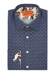 Simon Carter Leaf Line Pattern Shirt Navy