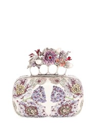 Alexander Mcqueen Flower Embroidered Knuckles Box Clutch
