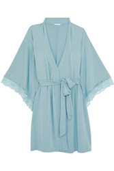 Eberjey Romina Lace Trimmed Stretch Modal Jersey Robe Light Denim
