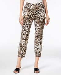 Thalia Sodi Cropped Leopard Print Pants Only At Macy's Taupe Combo